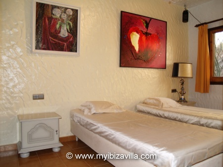 exotic room 2 single beds Of this Spain villa in Ibiza