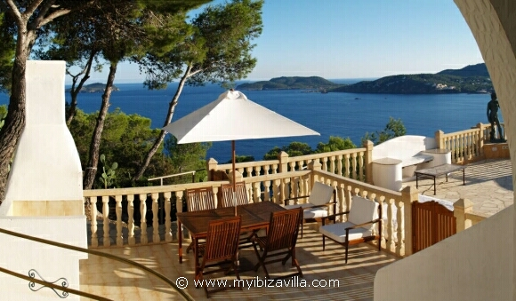 Spain villa 2nd terrace with gas bbq and nice sea views.