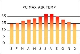 Ibiza climate: max air temperature per month