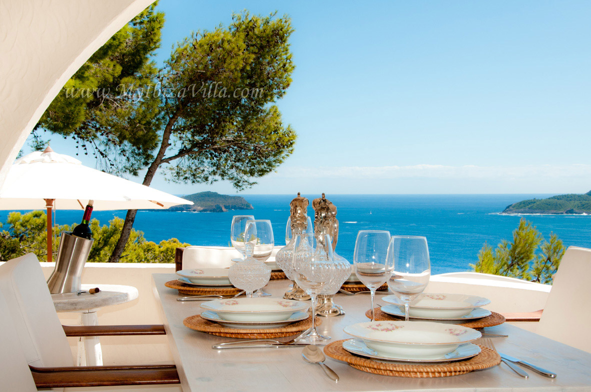 Ibiza villa upper terrace with wonderful sea view.