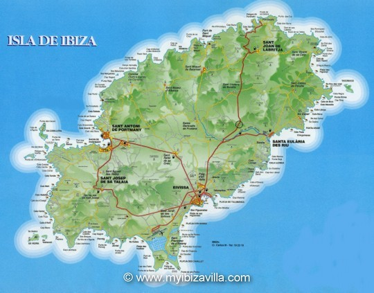 Map of Ibiza island, click for an enlargement of this Ibiza map.