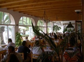 Inside the Ibicenco Restaurant Can Miquel in Ibiza.